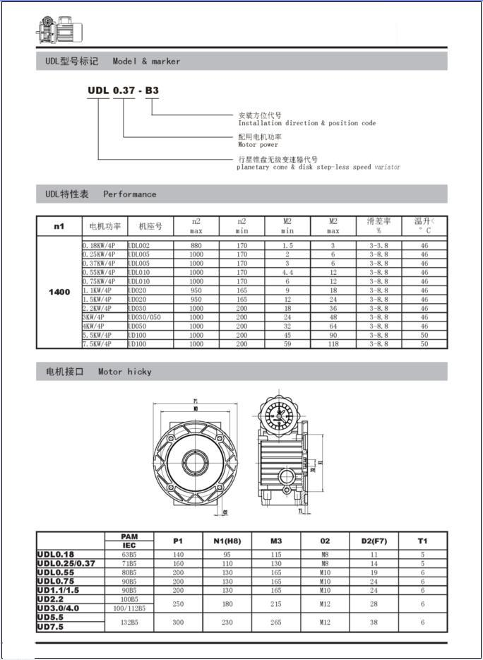 UDL Series planetary cone&disk step-less speed variator